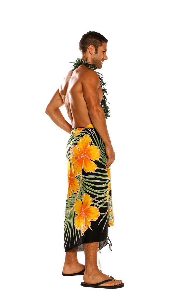 7807cb7d735b1 Mens Beach Wrap Hawaiian Floral Cover-Up Sarong in Yellow / Black. Click to  Enlarge. PrevNext