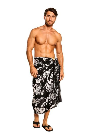 Mens Beach Wrap Hibiscus Flower/Floral Cover-Up Sarong in Black/White