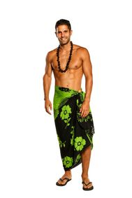 Mens Beach Wrap Hibiscus Flower/Floral Cover-Up Sarong in Green/Black Split