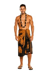 Mens Beach Wrap Split Color Hibiscus Flower Sarong in Brown/Black