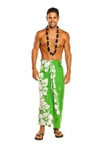 Mens Beach Wrap Triple Lei Cover-Up Sarong in Green/White