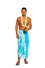 Mens Beach Wrap Triple Lei Cover-Up Sarong in Turq/White