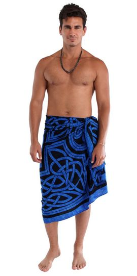 Mens Celtic Circles Top Quality Fringeless™ Sarong in Cool Blue