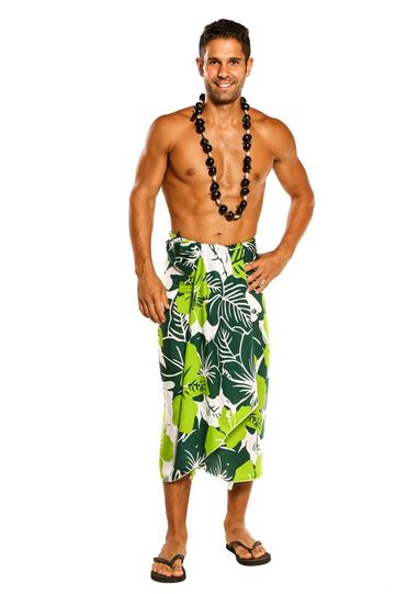 "Mens Floral Sarong """"Amazonia"""" Jungle Green and White"