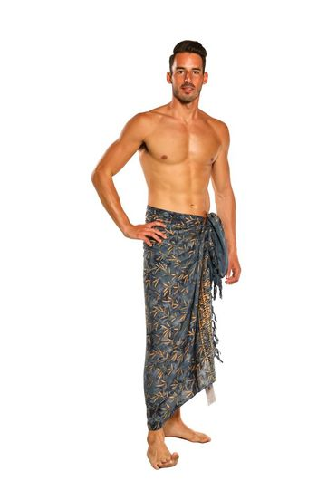Mens Floral Tiny Leaves Sarong in Slate Grey / Tan
