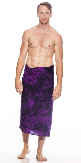 Mens Fringeless (TM) Sarong in Purple Smoked PLUS Size XL - 3X +