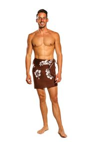 Mens Half Sarong/Mini Sarong Hibiscus in Brown/White