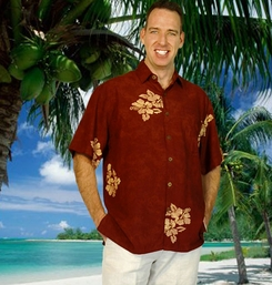 "Mens Hawaiian Aloha Shirt ""Hibiscus Brown"""