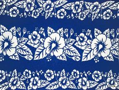 Mens Hibiscus Flower Sarong in Blue/White