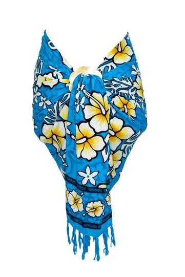 Mens Hibiscus Half/Mini Cover-Up Sarong Turquoise Blue / White