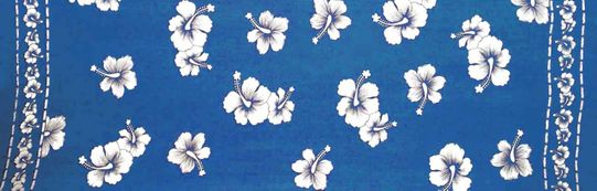 Mens Hibiscus Half/Mini Sarong in Blue/White