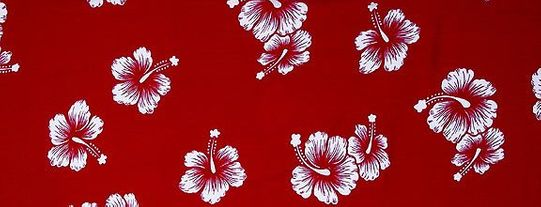 Mens Hibiscus Half/Mini Sarong in Red/White