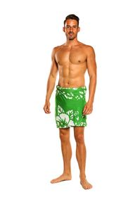 Mens Hibiscus Half Sarong/Mini Sarong in Green / White