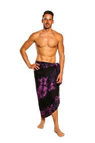 "Mens Lava Lava Mens Fringeless (TM) Floral Sarong """"Amethys T Magic"""" Purple and Black"