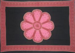 Mens Lotus Floral Pareo Sarong in Pink/Black