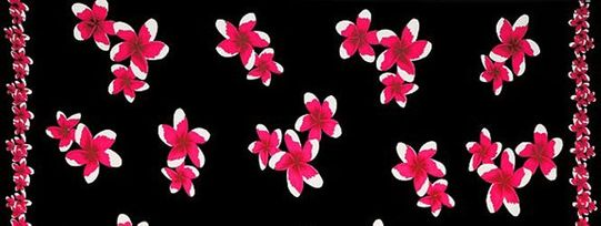 Mens Plumeria Print Half/Mini Sarong in Pink/Black