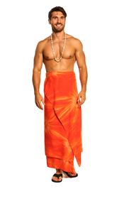 Mens PLUS Size Smoked Fringeless (TM) Cover-Up Sarong in Orange