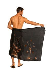 Mens PLUS Sized Fringeless (TM) Sarong Bamboo in Black