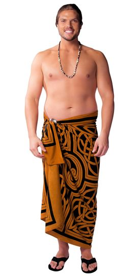 Mens Premium Celtic Circles Fringeless™ Sarong in Brown