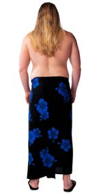 Mens Premium Fringeless (TM) Hibiscus PLUS Size Cover-Up Sarong Black/Blue