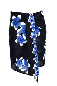 Mens Sarong Beach Wrap Half Sarong/Mini Sarong Plumeria in Royal Blue / Black