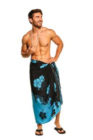 Mens Sarong Beach Wrap Hibiscus Flower Cover-Up Sarong in Turquoise/Black