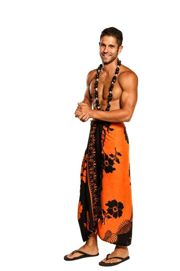 Mens Sarong Beach Wrap Hibiscus Flower/Floral Cover-Up Sarong in Orange/Black