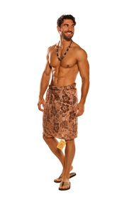 Mens Sarong Beach Wrap Hibiscus Flower Sarong in Brown