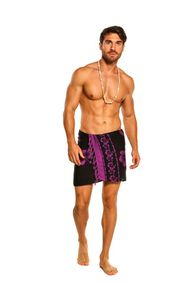 Mens Sarong Beach Wrap Hibiscus Half/Mini Cover-Up Sarong in Black/Purple