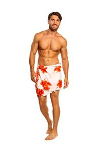 Mens Sarong Beach Wrap Hibiscus Half/Mini Cover-Up Sarong in White/Orange