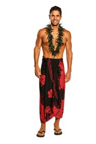 Mens Sarong Beach Wrap Split Color Hibiscus Flower Cover-Up Sarong in Red/Black