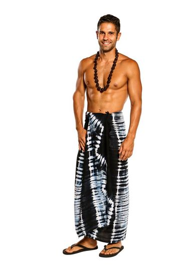 Mens Sarong Beach Wrap Tie Dye Jungle Navy Blue Sarong
