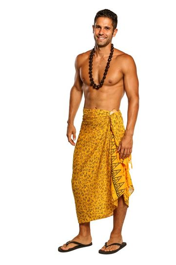 Mens Sarong Beach Wrap Tropical Bamboo Floral Swimsuit Cover-Up Sarong in Yellow