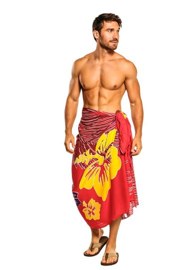Mens Sarong Beach Wrap Tropical Floral Swimsuit Cover-Up Sarong in Red
