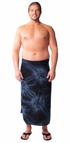 "Mens Sarong ""Charcoal Gray"" Smoked PLUS SIZE - Fringeless Sarong"