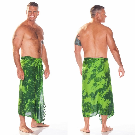 Mens Sarong in Lime / Dark Green Smoked - Call to Order
