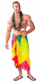 Mens Tie Dye Sarong in Red and Green Zig Zag Chevron Print