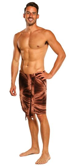 Mens Sarong Wrap Men's Half Sarong in Brown / Light Brown Smoked