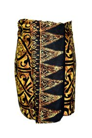 Mens Short Abstract Tribal Sarong in Goldish Brown