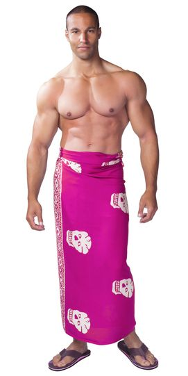 Mens Skull Sarong in Pink/White