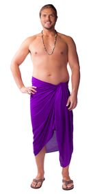 Mens Solid PLUS Size Fringeless (TM) Cover-Up Sarong in Purple