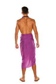 Mens Solid Purple-2 Fringeless (TM) Sarong