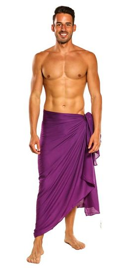 Mens Solid Purple Fringeless (TM) Sarong