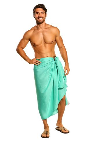 Mens Solid Sea Green Fringeless (TM) Sarong