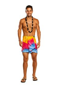 Mens Tie Dye Half/Mini Cover-Up Sarong in Diamond Rainbow