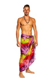 Mens Tie Dye Sarong in Lime, Pink and Purple