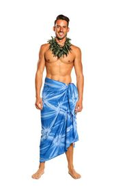 Mens Top Quality Smoked Sarong in Blue
