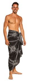 Mens Top Quality Smoked Sarong in Charcoal Gray FRINGELESS