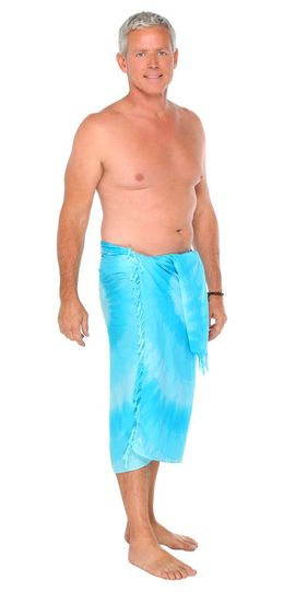 Mens Tri Dye Sarong in Turquoise