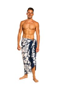 Mens Triple Lei Sarong in Navy Blue/White
